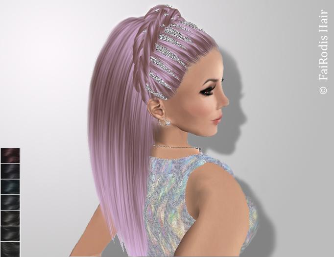 FaiRodis Freya hair black1+holografic+FLOWER decor pack