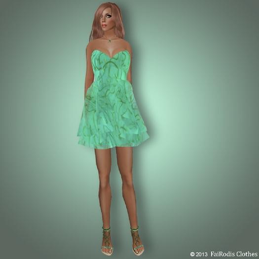 FaiRodis spring white-green mesh dress