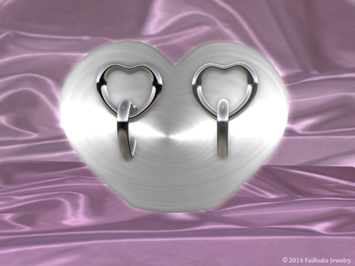 Platinum heart Earrings mesh