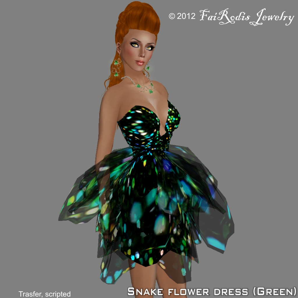 FaiRodis Snake Flower Dress Green (Click on picture to buy on SL MarketPlace)