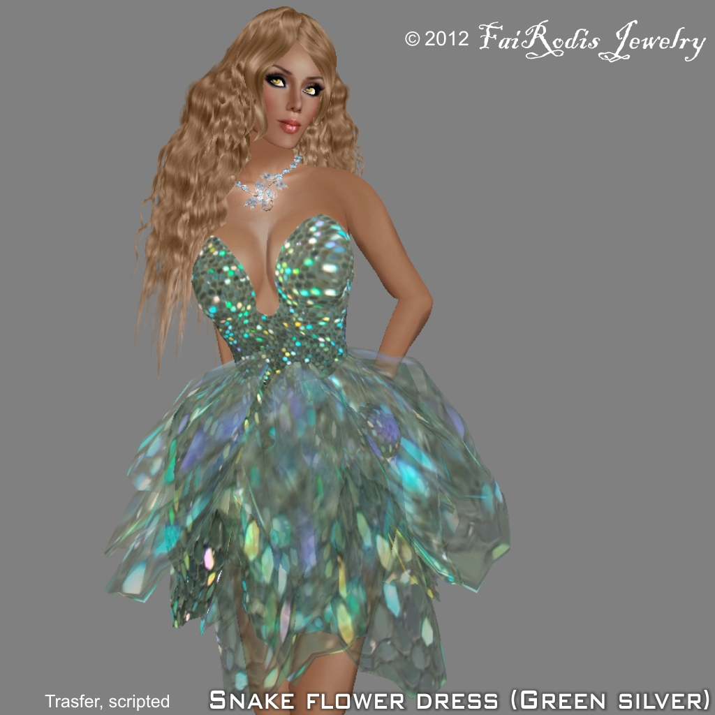 FaiRodis Snake Flower Dress Green Silver (Click on picture to buy on SL MarketPlace)