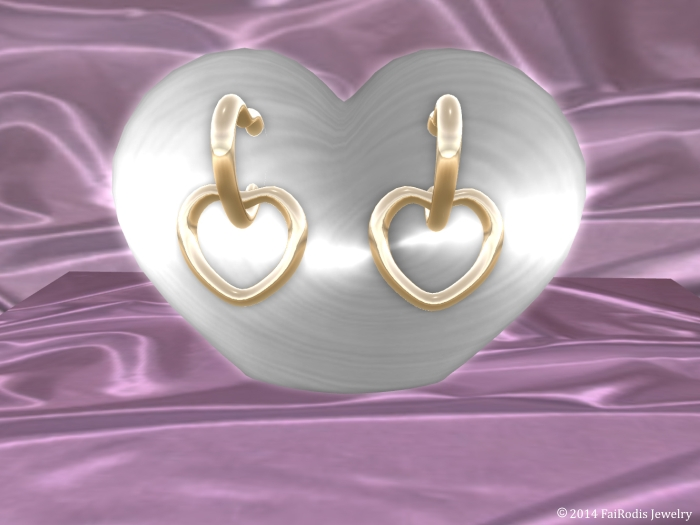 Gold heart mesh earings